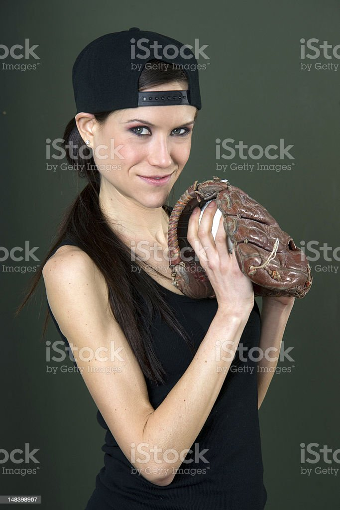 Player Female with Baseball Glove in Black stock photo