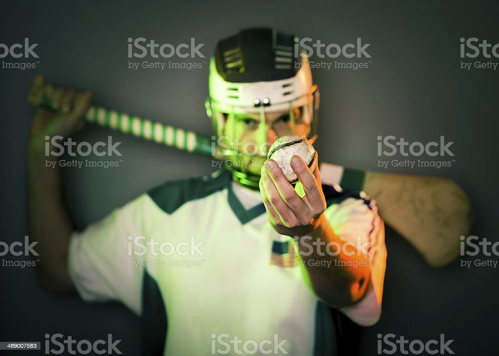 Player Holding Hurling Ball stock photo