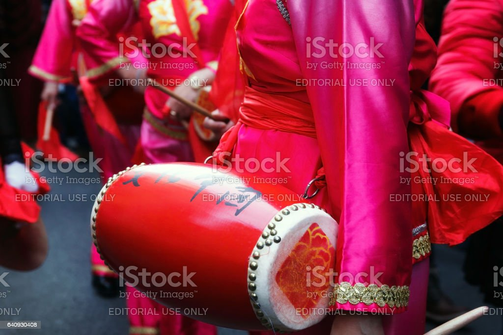 Player of the typical Chinese bongo, detail. stock photo
