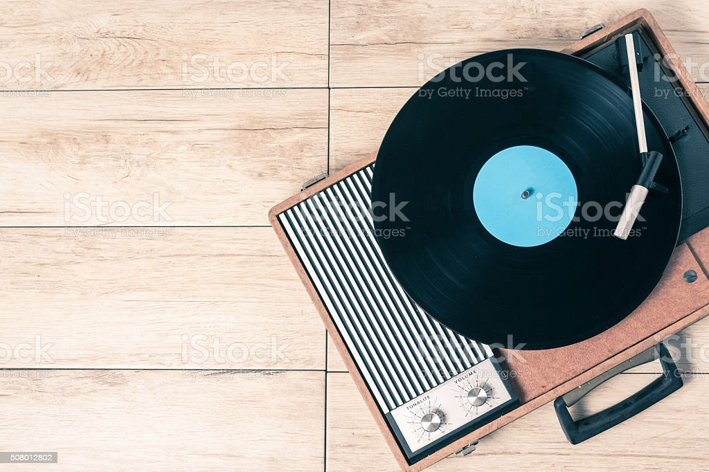 Player record and vinyl vintage stock photo