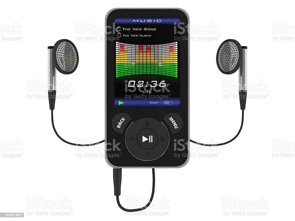 MP4 player with headphones royalty-free stock photo