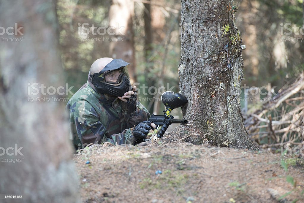 Players in paintball prepare for fight royalty-free stock photo