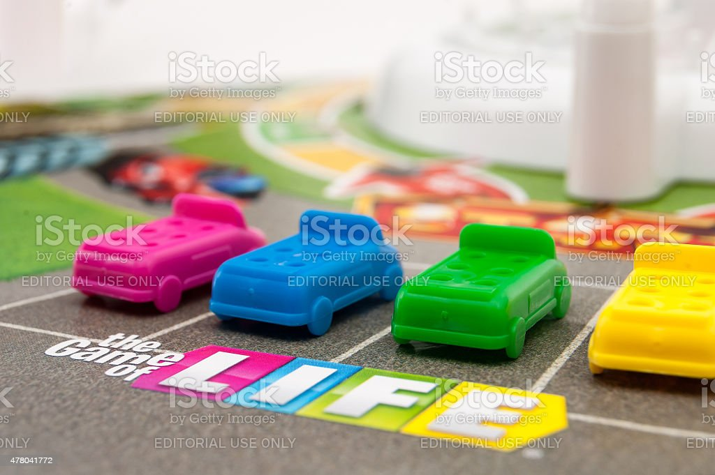 Players ready to start The Game of Life stock photo