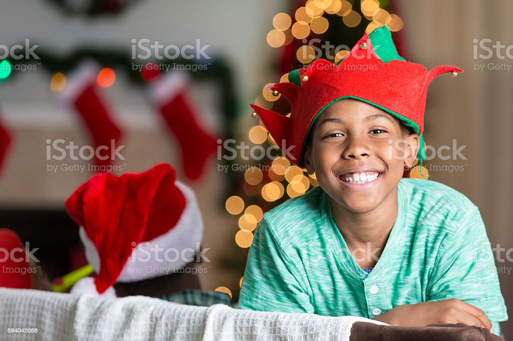 Playful African American boy at Christmastime stock photo