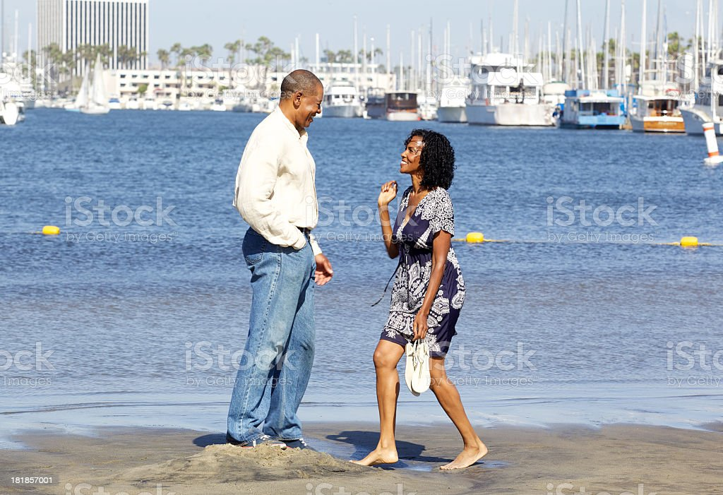 Playful African American Couple at Marina Del Rey royalty-free stock photo
