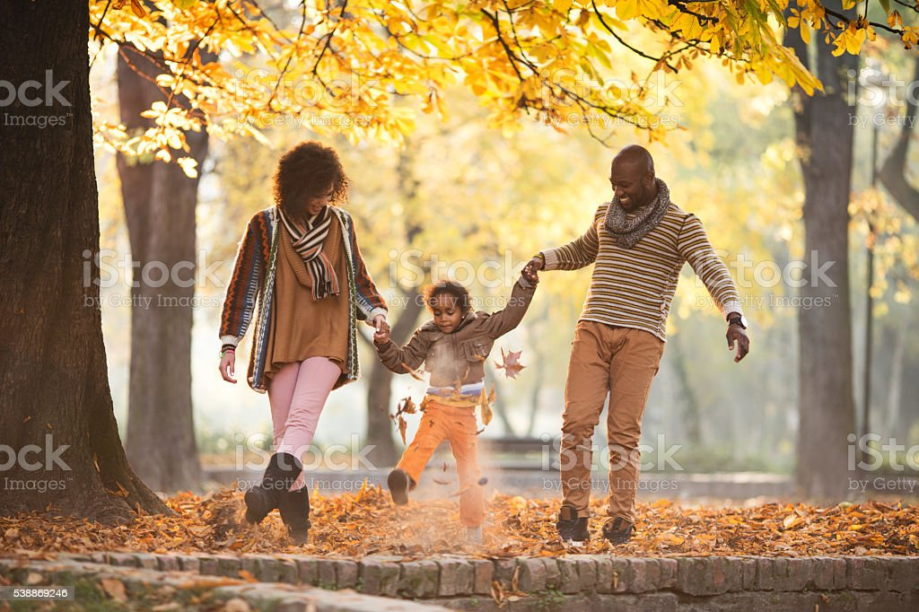 Playful African American family walking through leaves in nature. stock photo