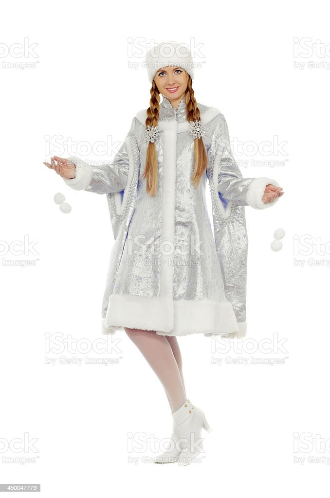 Playful beautiful Snow Maiden royalty-free stock photo
