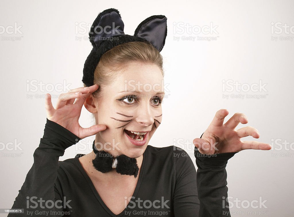 Playful cat girl stock photo
