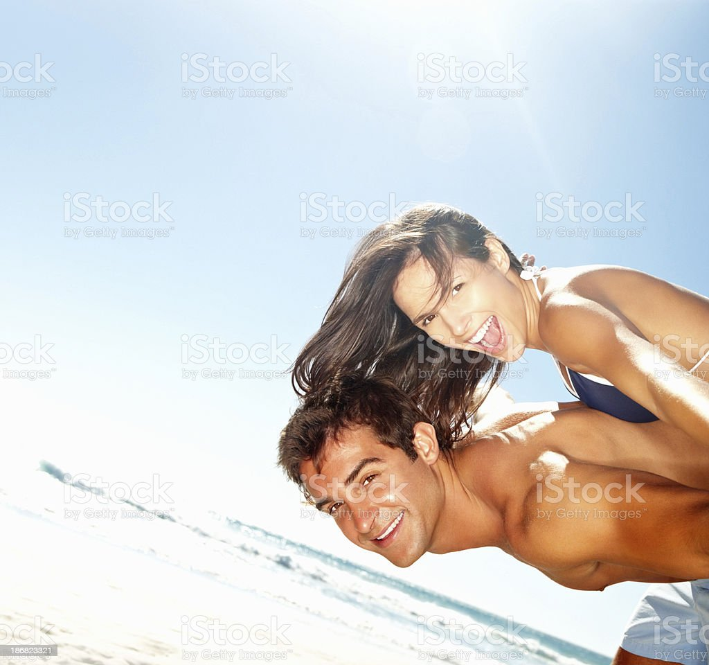 Playful couple on holiday royalty-free stock photo