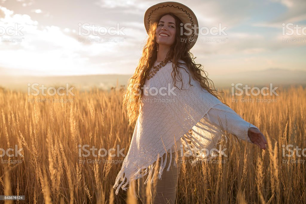 Playful cowgirl stock photo