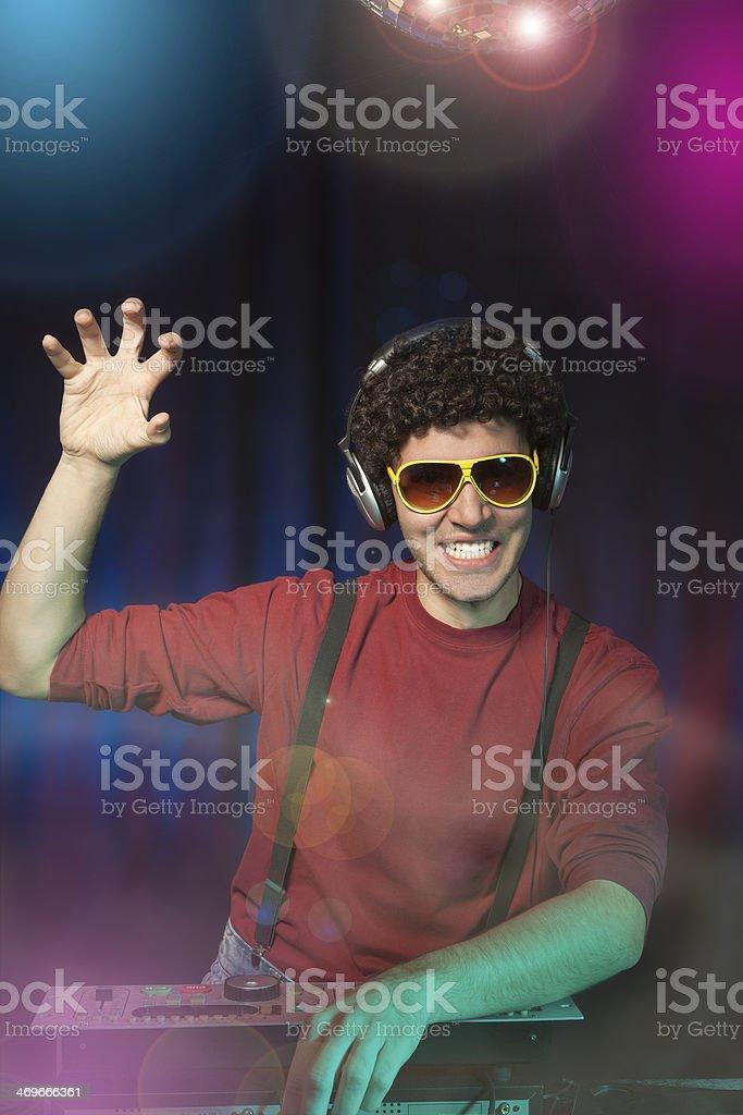 Playful disc jockey royalty-free stock photo
