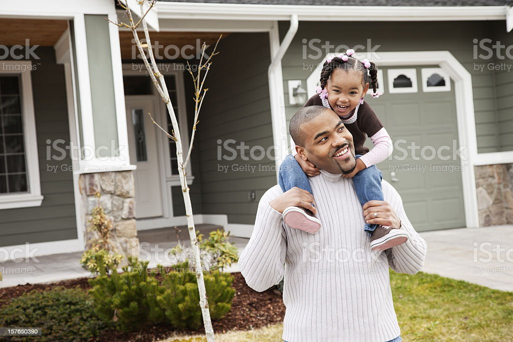 Playful Father and Daughter at Home royalty-free stock photo
