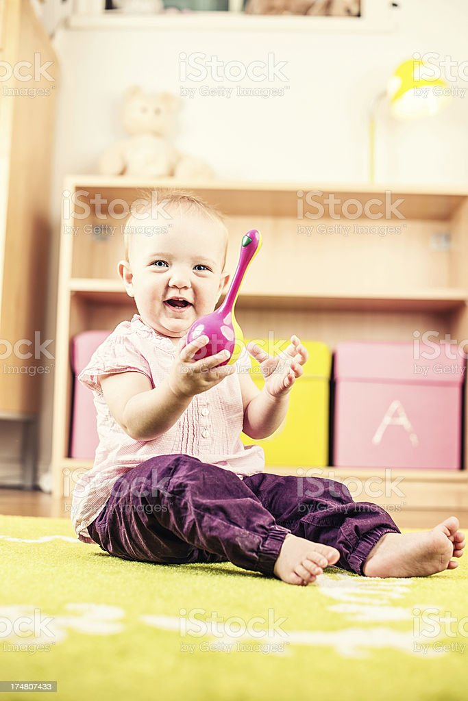 Playful girl at home royalty-free stock photo