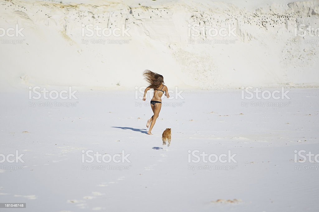 Playful girl with dog royalty-free stock photo