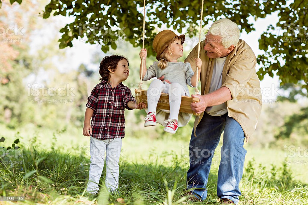 Playful grandfather stock photo
