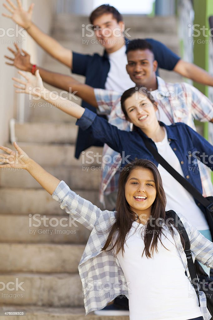 playful high school students stock photo