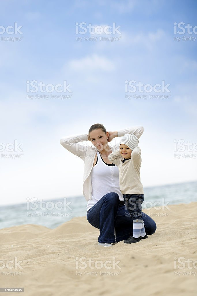 playful mother with son stock photo