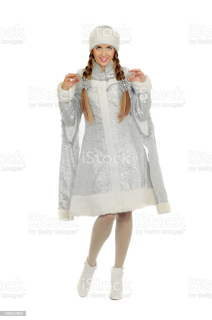 Playful pretty Snow Maiden royalty-free stock photo