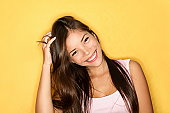 Playful smiling casual young woman