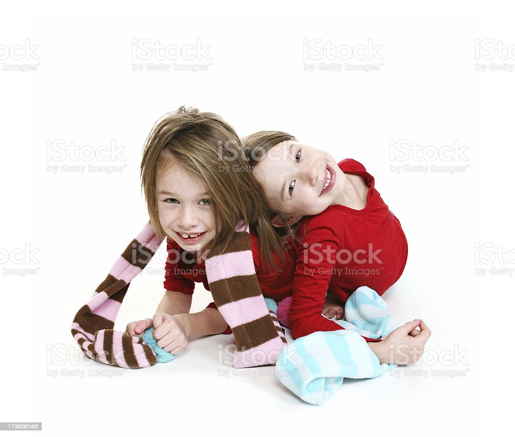 Playful twins smiling stock photo