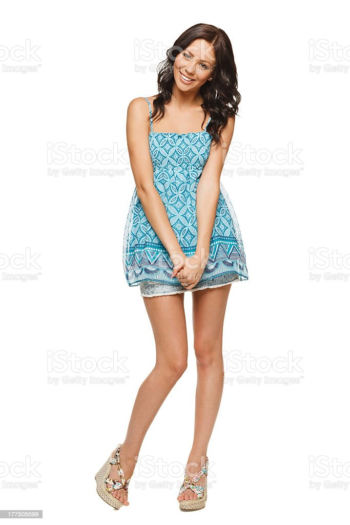Playful woman in full length stock photo