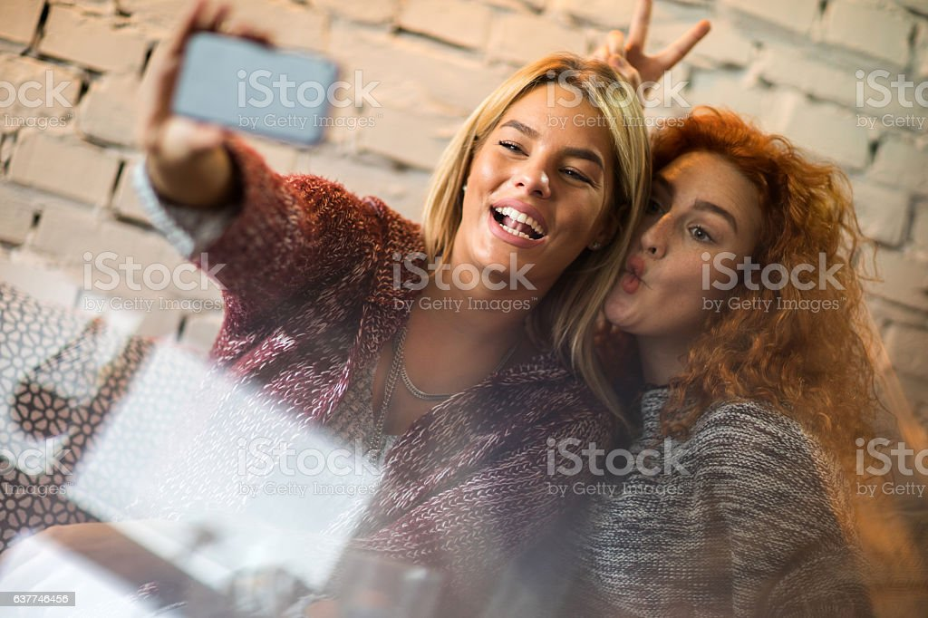 Playful women having fun while taking selfie with smart phone. stock photo