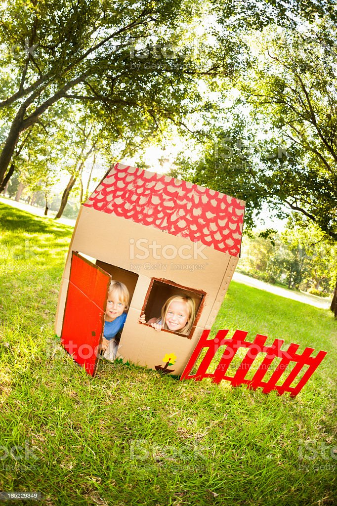 Playful Young Boy And Girl stock photo