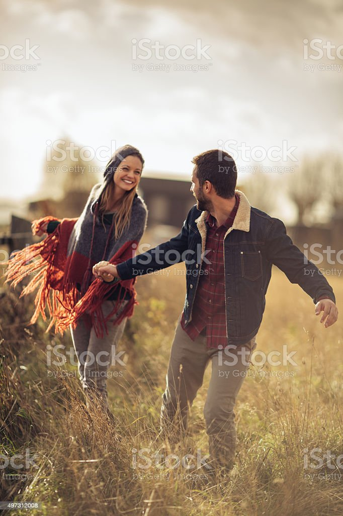 Playful young couple stock photo