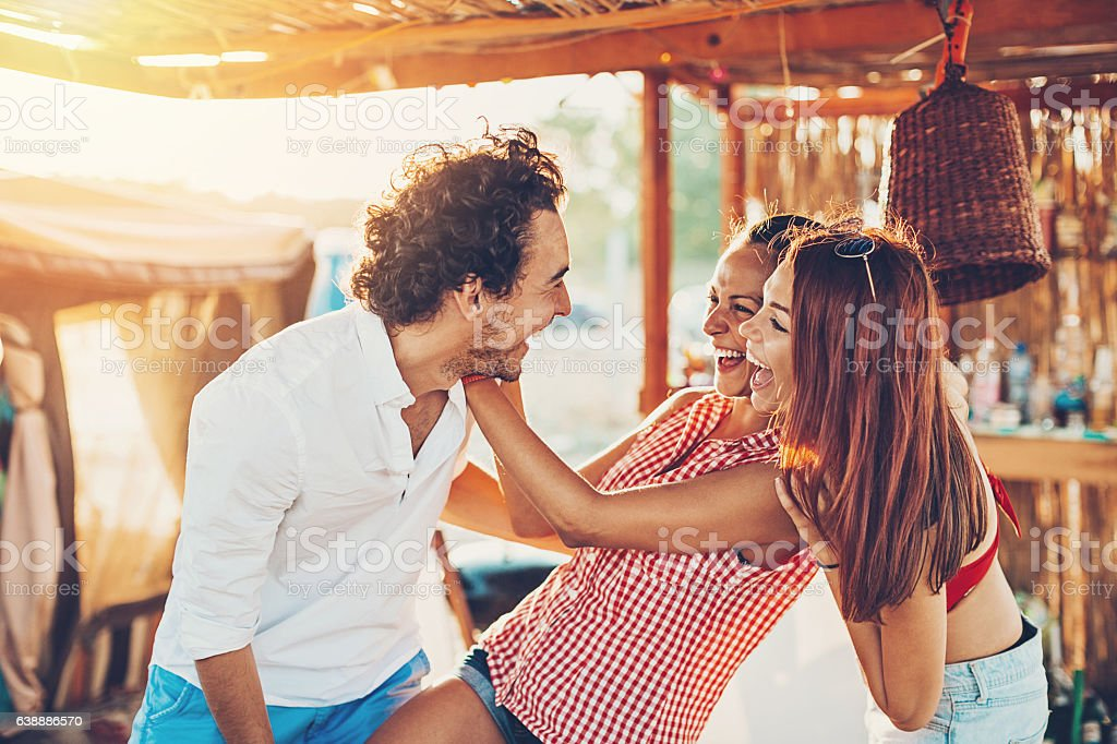 Playful young people in the summer stock photo