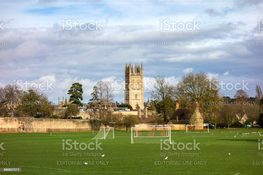playground and Chapel tower of Merton College. Oxford University, Oxford, stock photo