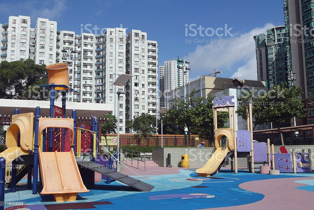 Playground for children in Hong Kong residential area stock photo