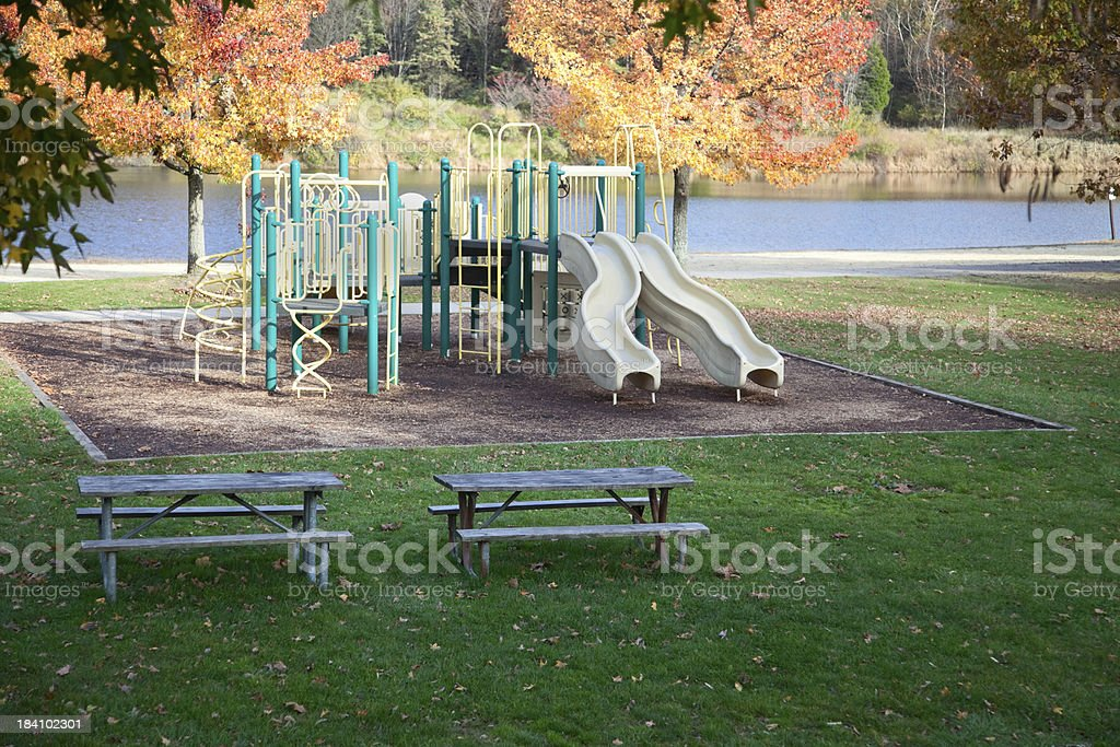 Playground in a Park with Jungle Gym and Slides royalty-free stock photo