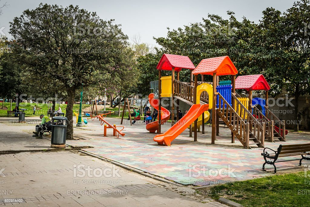 Playground in Gezi park in Istanbul, Turkey stock photo