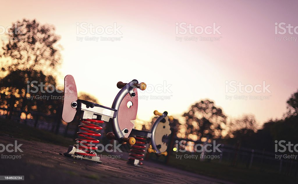 Playground in the early morning hours stock photo