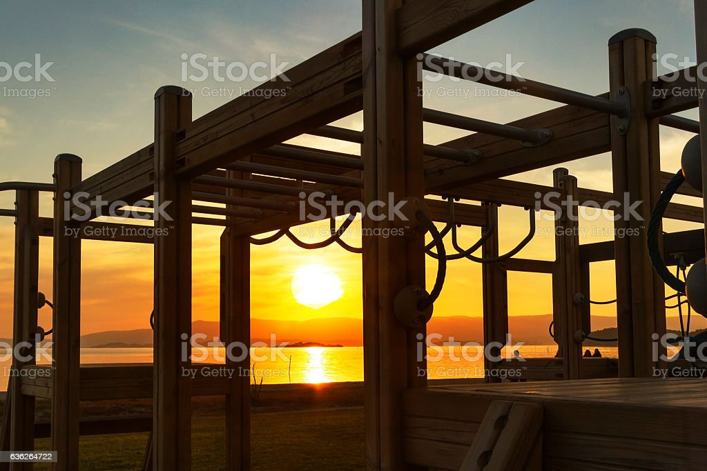Playground of Compostela beach at sunset stock photo