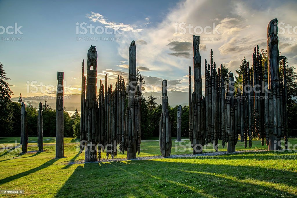 'Playground of the Gods' on Burnaby Mountain at sunset stock photo