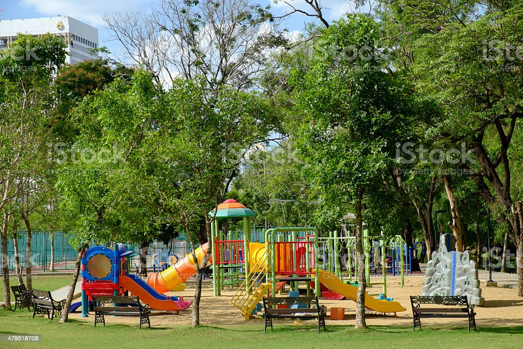 Playground on public park stock photo