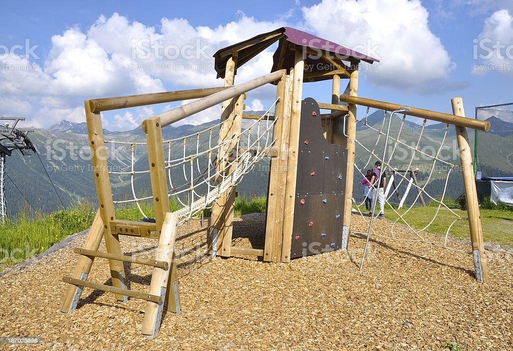 Playground on Top of Alp Switzerland stock photo