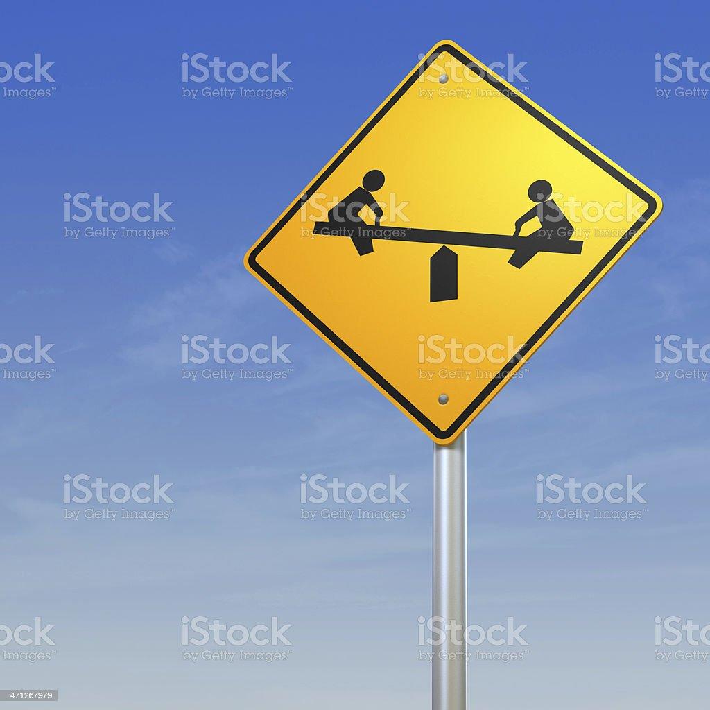 Playground Road Warning Sign royalty-free stock photo