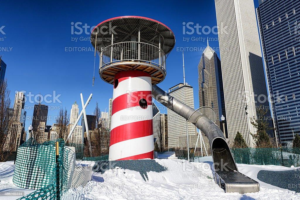 Playground slide, Maggie Daley Park, Chicago stock photo