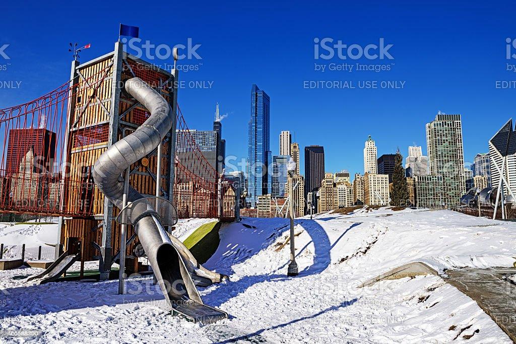 Playground slide, Maggie Daley Park, Winter, Chicago stock photo