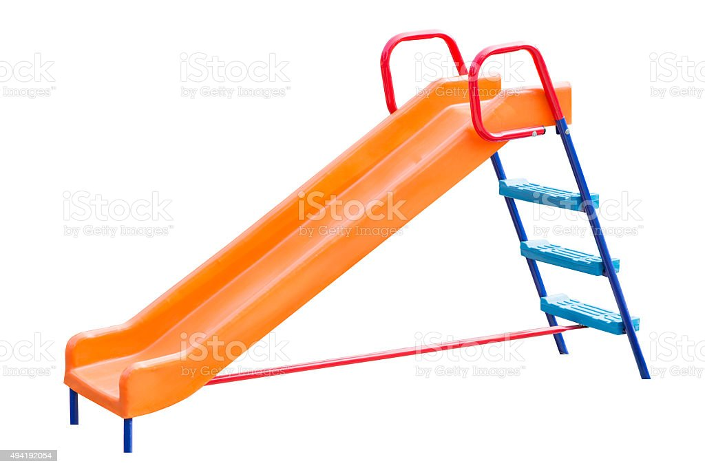 Playground slide of plastic stock photo
