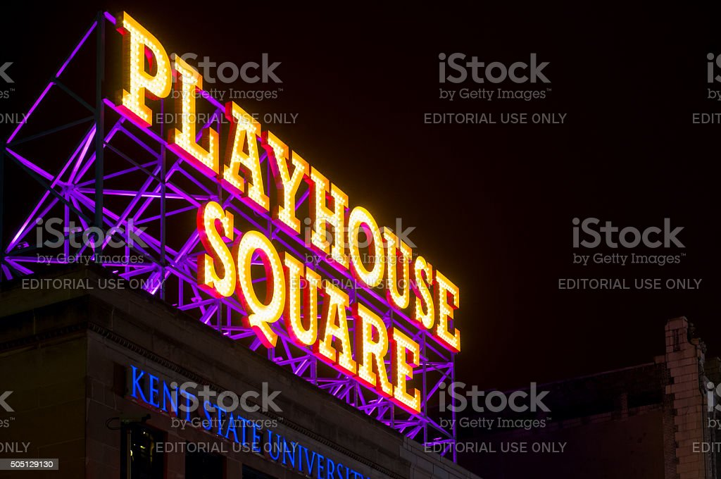 Playhouse Square sign stock photo