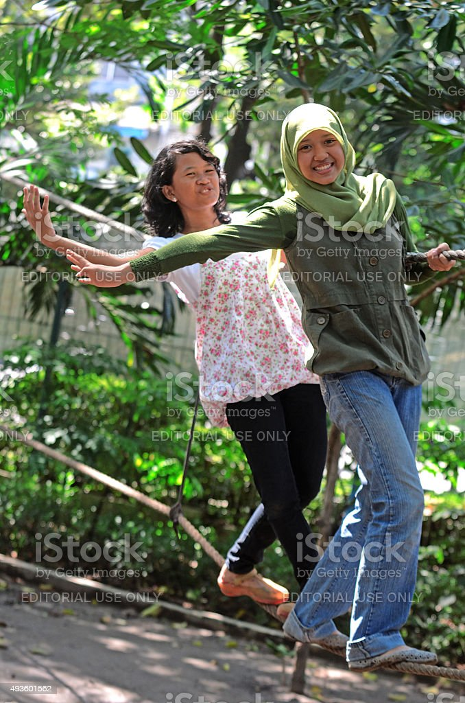 Playin in Kebun Bibit Surbaya stock photo