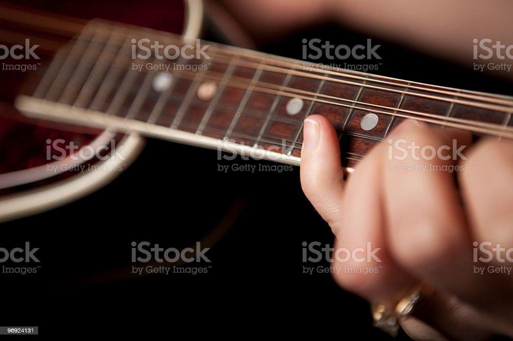Playing a mandolin stock photo