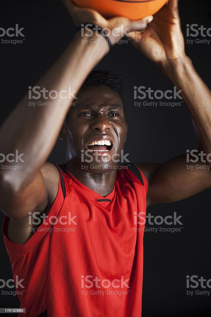Playing a tough basketball game stock photo