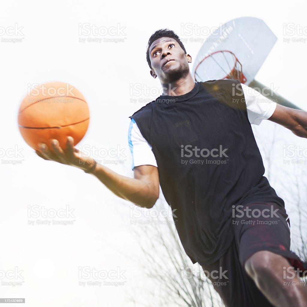 Playing a tough basketball game. royalty-free stock photo