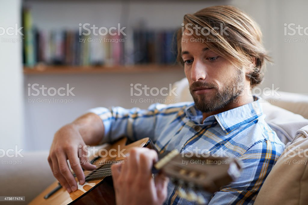 Playing a tune stock photo