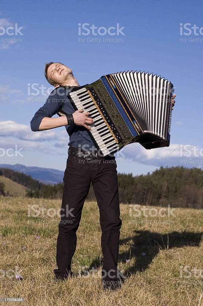 playing accordion, having fun stock photo