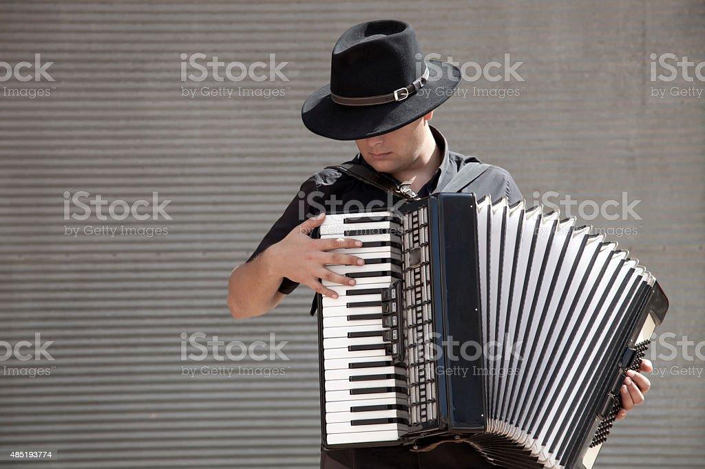 playing accordion, having fun stock photo